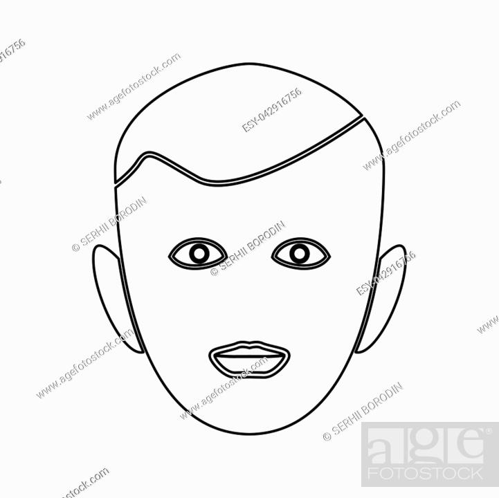 Stock Vector: Little boy face it is black color path icon .
