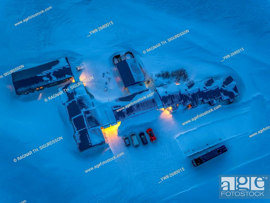 Stock Photo: Top view of Hotel Highland, Central Highlands, Iceland. This image is shot using a drone.