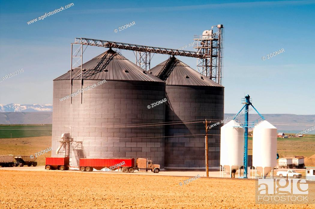 Stock Photo: Agricultural Silo Loads Semi Truck With Farm Grown Food Grain.