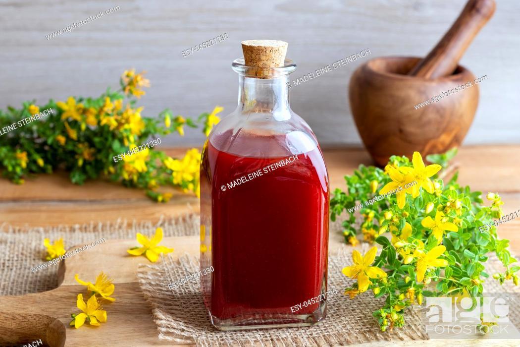 Stock Photo: A bottle of red oil made from fresh St. John's wort flowers.