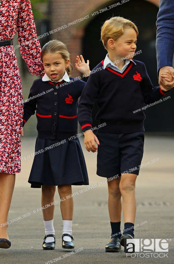 Stock Photo: Princess Charlotte arrives for her first day of school at Thomas's Battersea in London, with her brother Prince George and her parents the Duke and Duchess of.