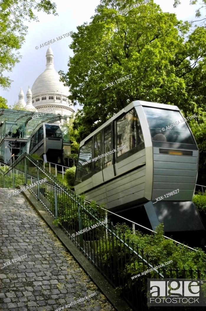 Stock Photo: The funicular railway leading to Church Sacre Coeur in the Montmartre District Paris France.