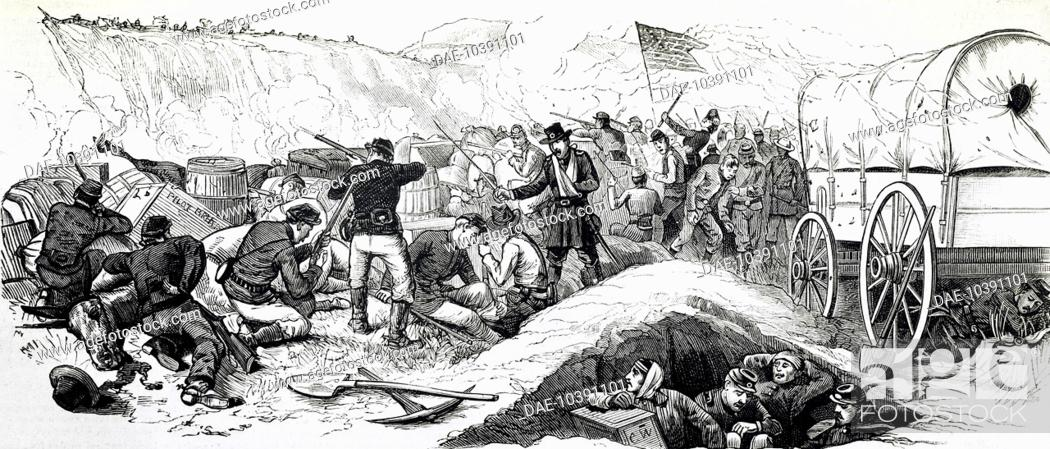 Imagen: Barricade against the Indians, engraving. Indian wars, United States, 19th century.
