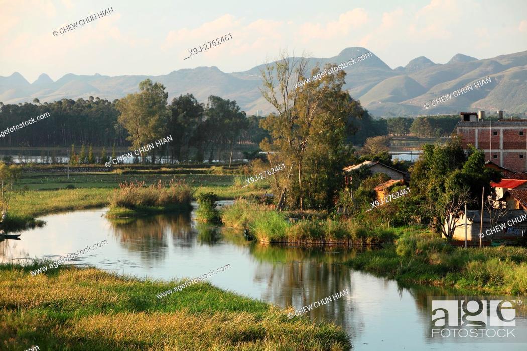 Stock Photo: Qiubei Puzhehei wetlands, Yunnan Province, China.