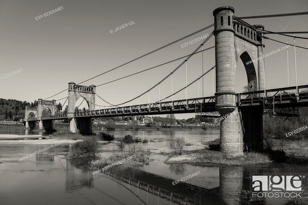 Stock Photo: Pont of Langeais, Indre-et-Loire, Centre, France.