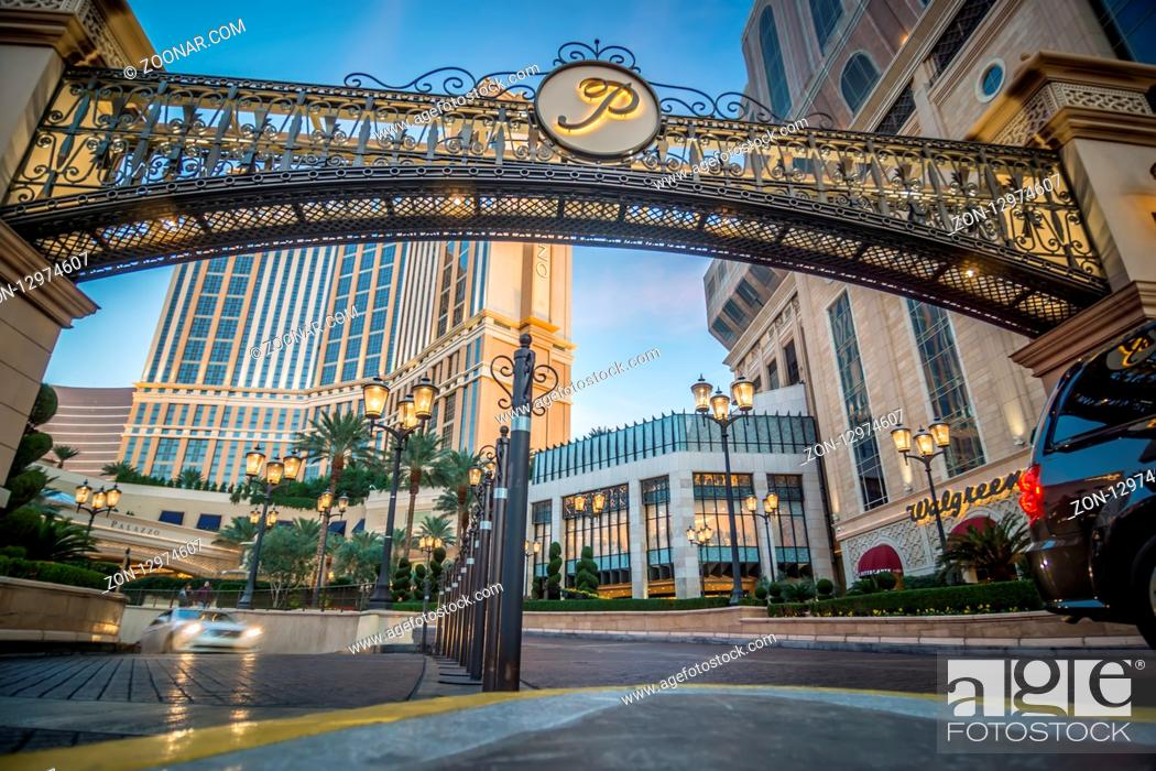 Stock Photo: LAS VEGAS, NEVADA - NOVEMBER, 2017: View of The Venetian Hotel Resort and Casino and other attractions along the Vegas Strip on a sunny day.