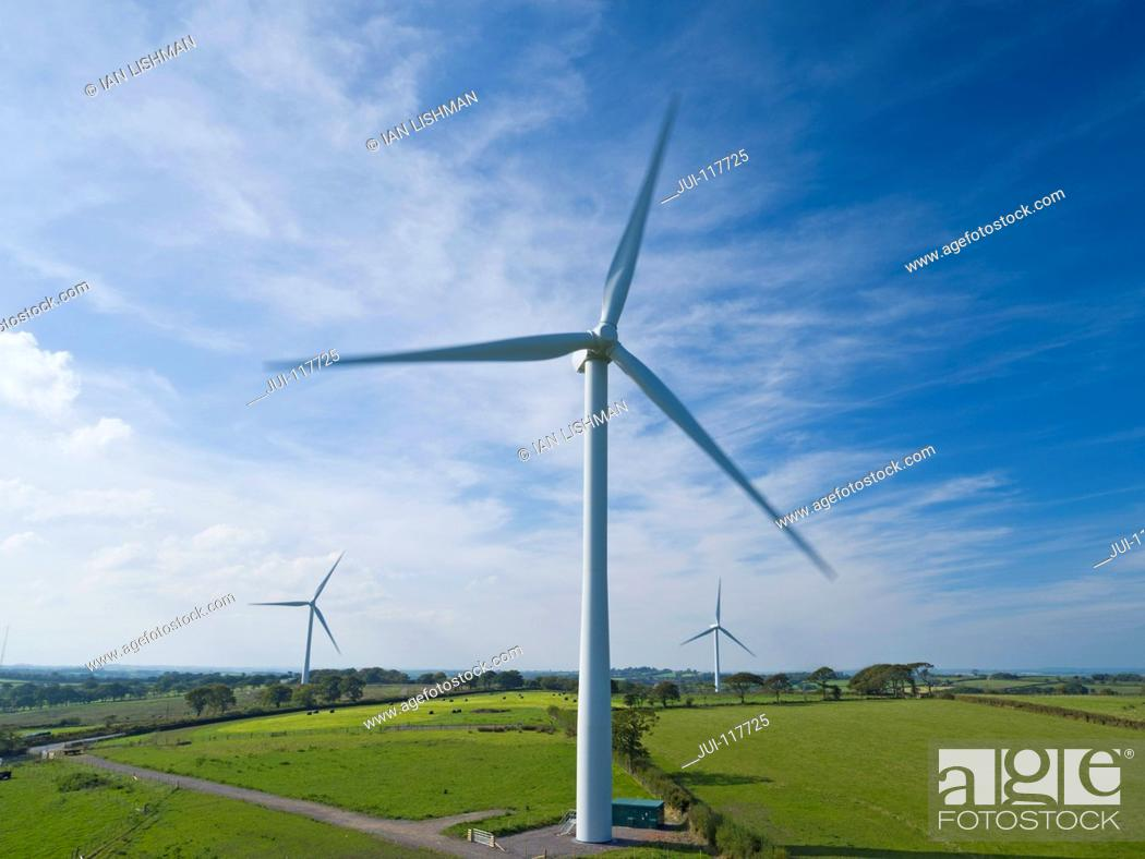 Stock Photo: Aerial View Of Turbines On Wind Farm In UK Countryside.