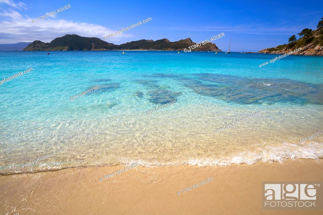 Stock Photo: Nostra Senora beach in Islas Cies islands of Vigo at Spain.