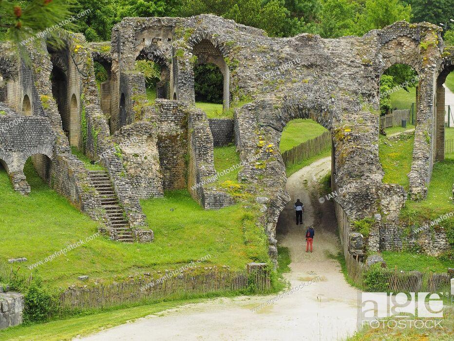 Stock Photo: Gallo-Roman Amphitheatre, Saintes, Charente-Maritime Department, Nouvelle-Aquitaine, France.