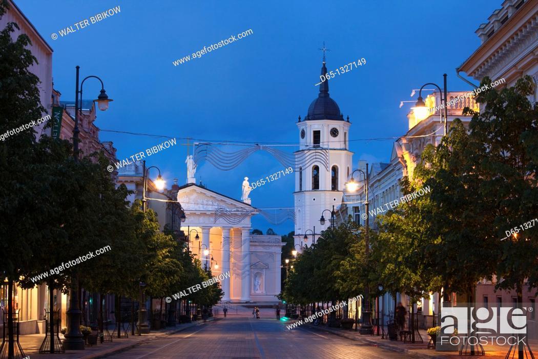 Stock Photo: Lithuania, Vilnius, Vilnius Cathedral, evening.