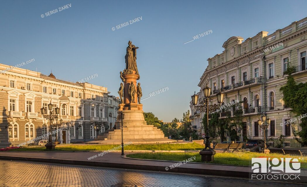 Stock Photo: Monument to the founders of Odessa in Ukraine at the summer morning.