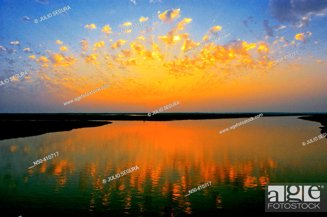 Stock Photo: Marshes of Odiel river at sunset. Huelva province, Andalusia, Spain.