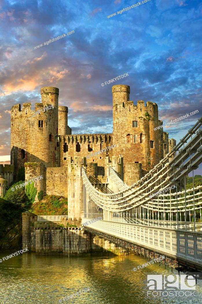 Stock Photo: The medieval Conwy Castle English Conway Castle built 1283 and 1289 for Edward 1st, one of the finest medieval examples of military architecture in Europe.