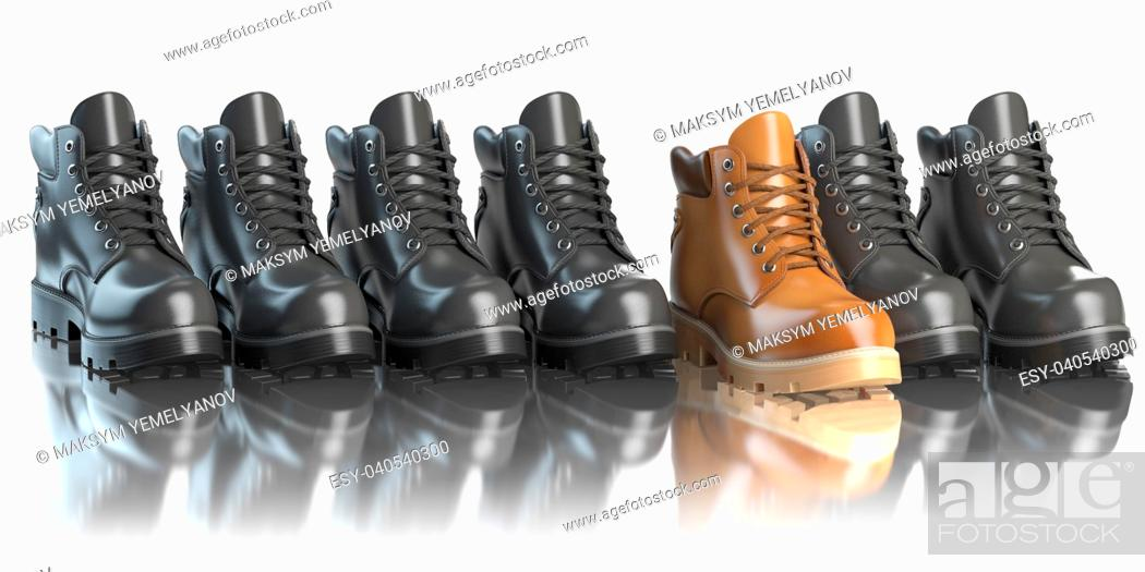 Stock Photo: One unique brown boot in the row of black boots. Marketing concept. Choosing the style, Think different. 3d illustration.