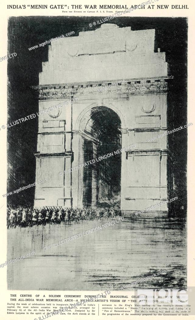 Stock Photo: The centre of a solemn ceremony during the inaugural celebrations at New Delhi, the All-India War Memorial Arch. Designed by Sir Edwin Lutyens in the spirit of.