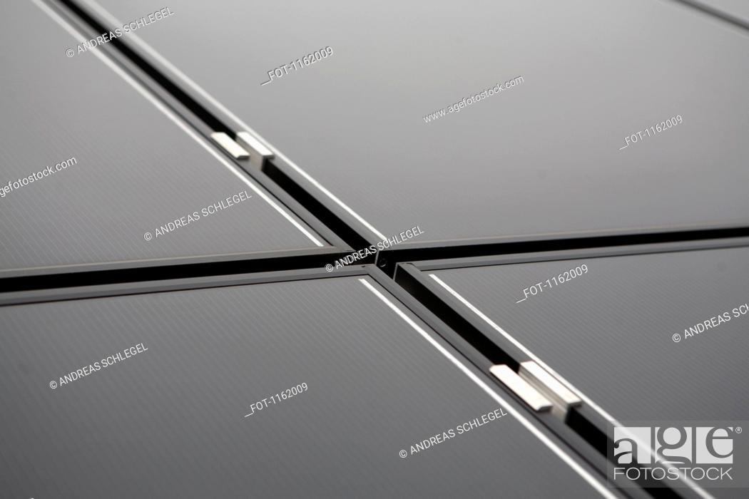 Stock Photo: Thin film solar modules.
