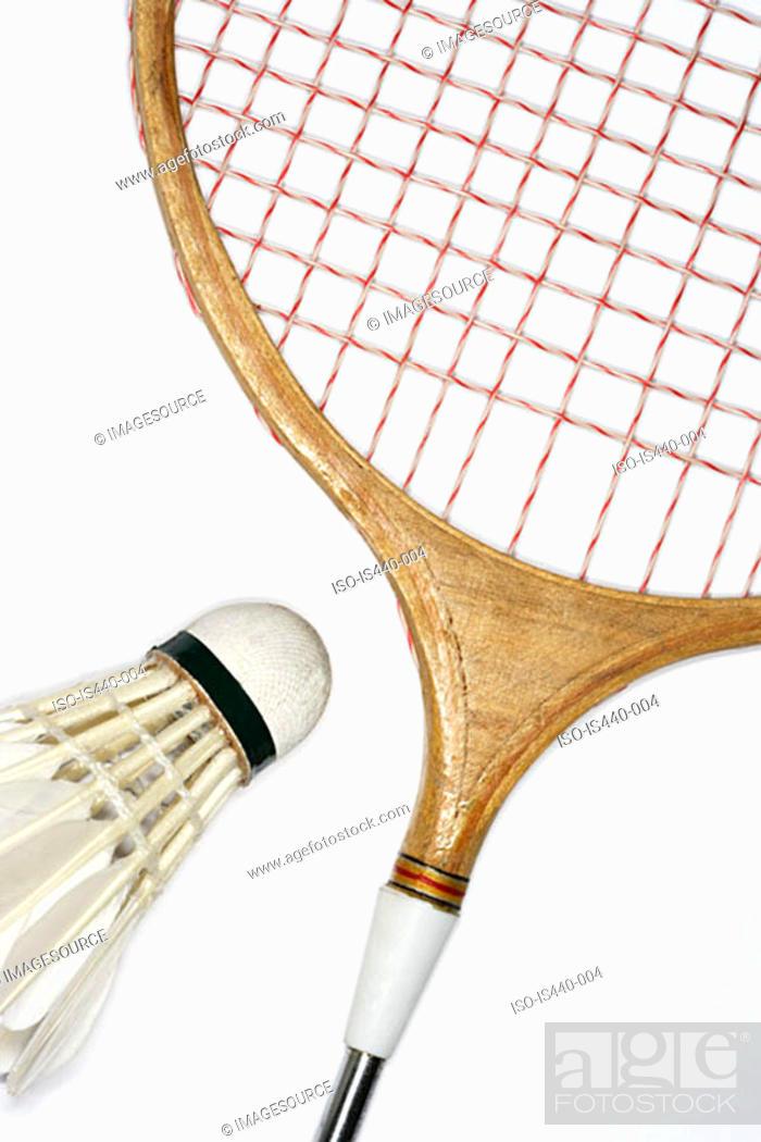 Stock Photo: Badminton racket and shuttlecock.