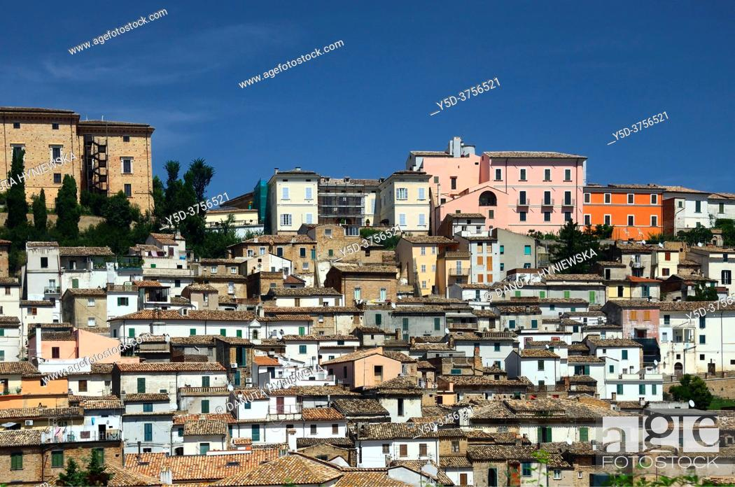 Stock Photo: Panoramic view of historic town Loreto Aprutino - town in the Province of Pescara, Abruzzo region, central Italy, Europe.