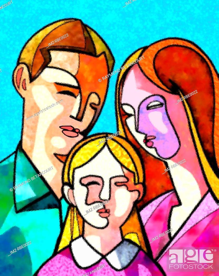 Stock Photo: family of three.