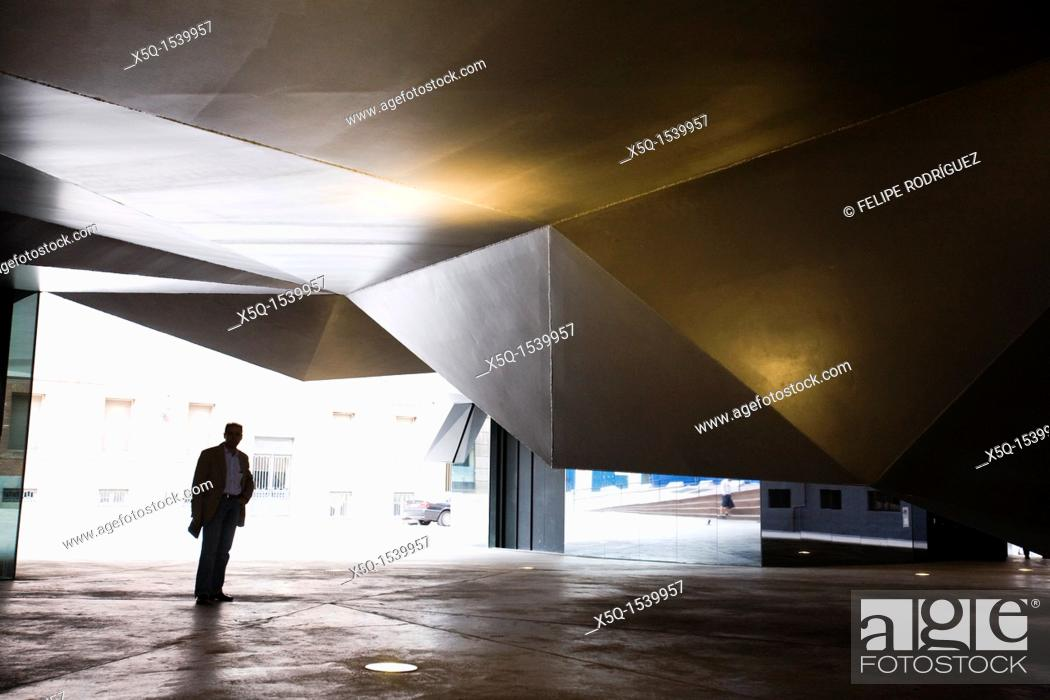 Stock Photo: Steel Ceiling of CaixaForum Plaza, Madrid, Spain.