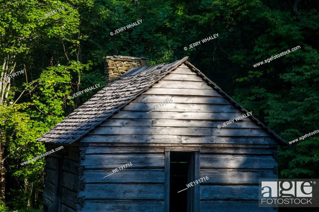 Stock Photo: Log Cabin on the Motor Nature Trail in the Great Smoky Mountains National Park, TN.