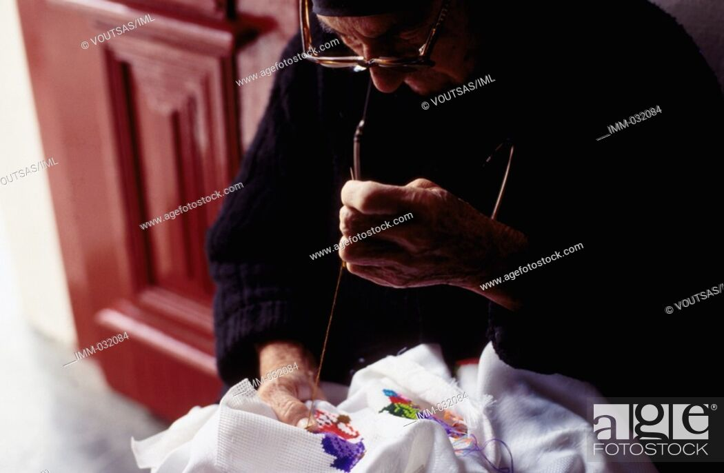 Stock Photo: Karpathos, Olymbos: True to Tradition Olymbos, women, traditional stitching.