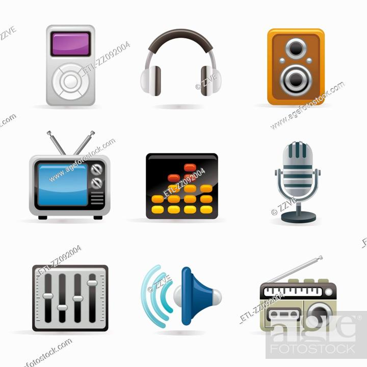 Stock Photo: Electronic equipment icon set.