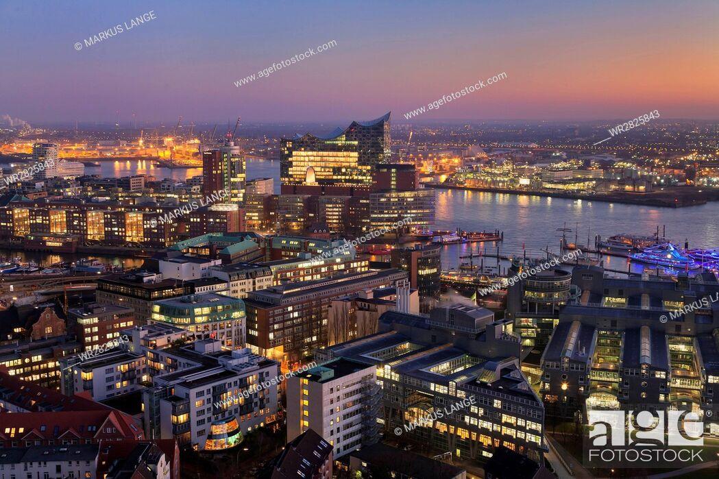 Stock Photo: View over HafenCity and Elbphilharmonie at sunset, Hamburg, Hanseatic City, Germany, Europe.