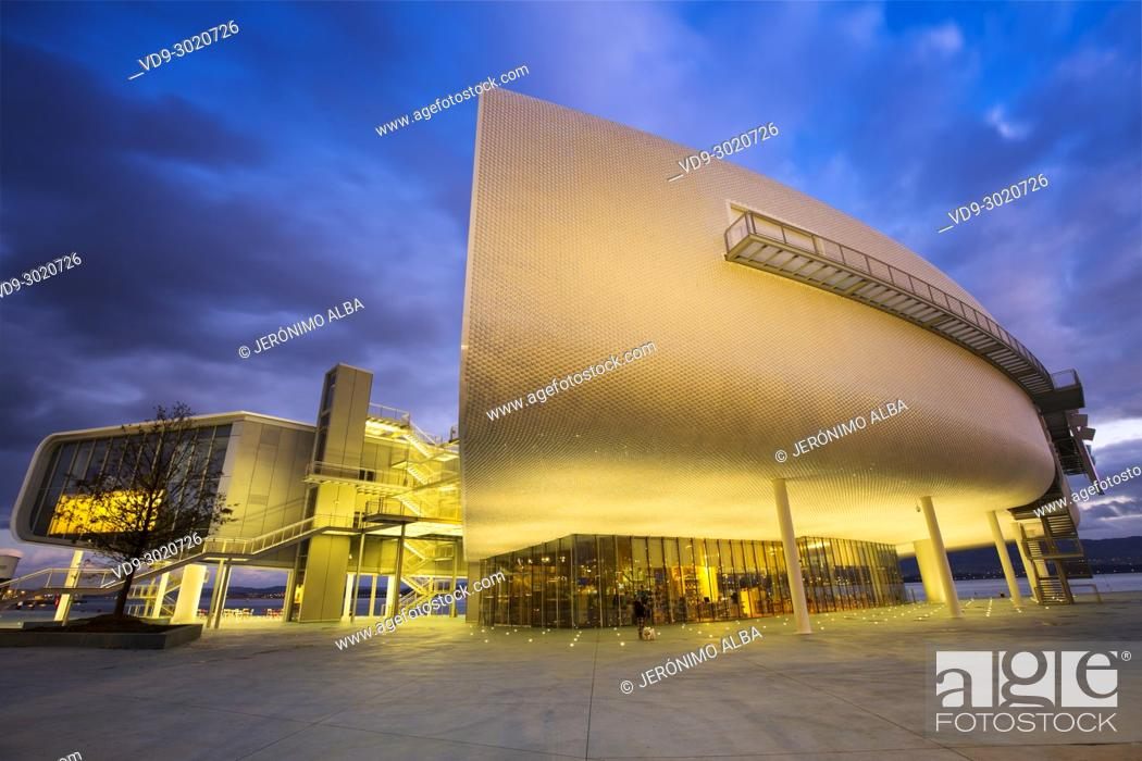 Stock Photo: Dusk, Botin Center Museum Art and Culture. Botin Foundation, architect Renzo Piano. Santander, Cantabrian Sea, Cantabria, Spain, Europe.