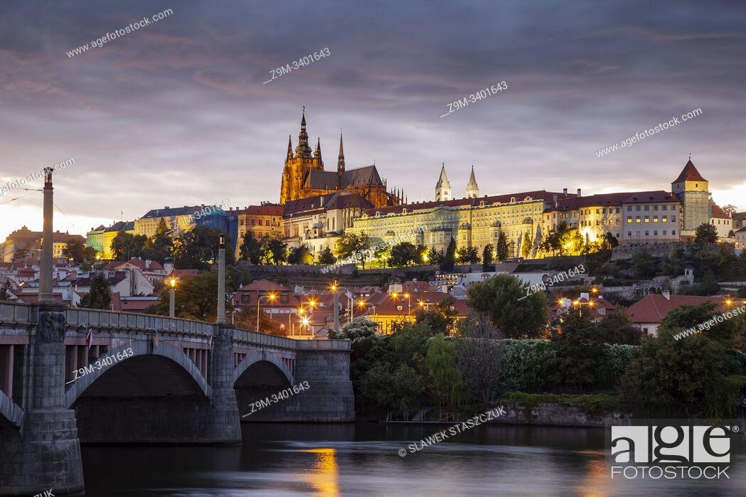 Stock Photo: Evening at Manes bridge in Prague, Czechia.