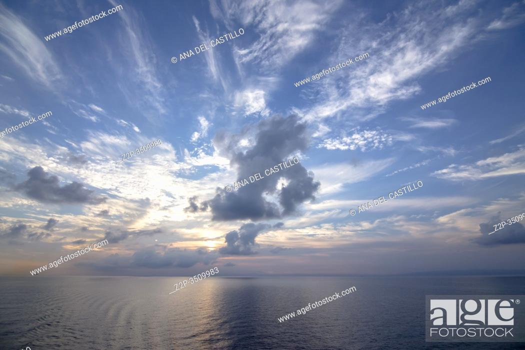 Stock Photo: Sunset from a ship Mediterranean sea.