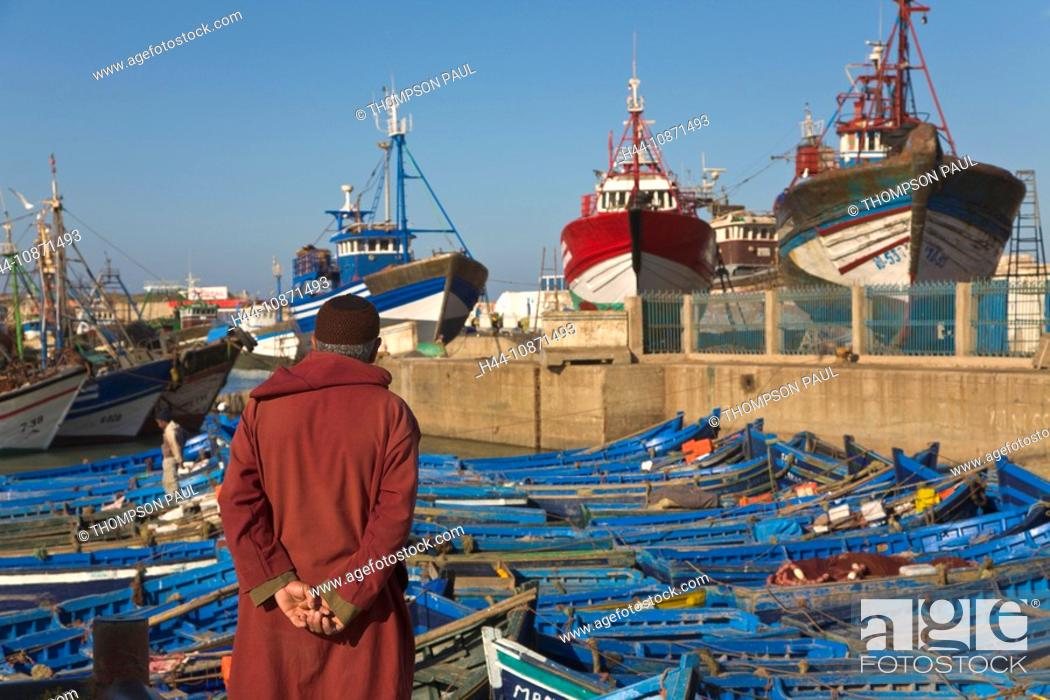 Stock Photo: Local man at the fishing harbour, Essaouira, Morocco.