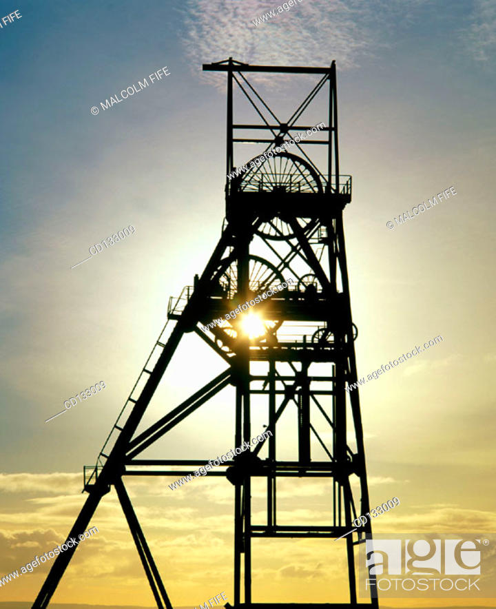 Stock Photo: Pithead in a closed coal mine near Kirkcaldy. Fife. Scotland.