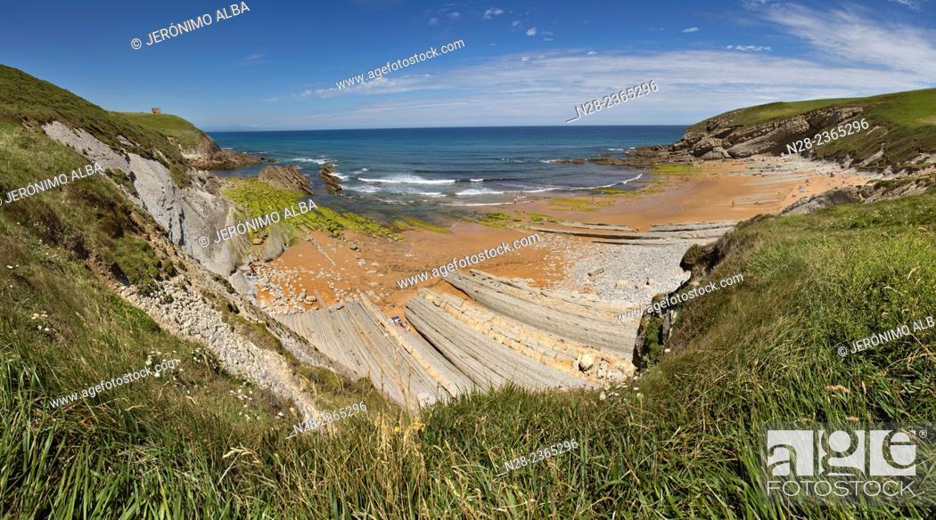 Stock Photo: El Sable beach, Suances, Cantabria, Spain.