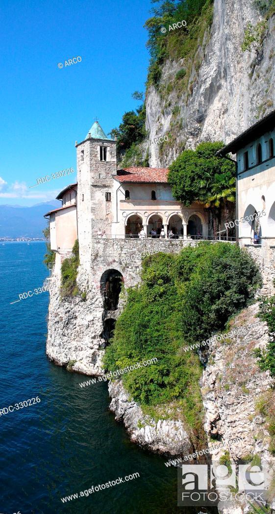 Stock Photo: Hermitage of Santa Caterina del Sasso Ballaro, Roman Catholic monastery, colonnade, Lago Maggiore, Leggiuno, Province of Varese, Lombardy, Italy.