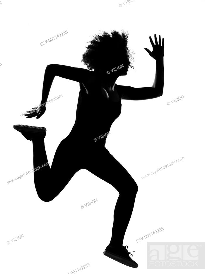 Stock Photo: beautiful funny young afro american woman runnner running in silhouette shadow on studio isolated white backgroung.