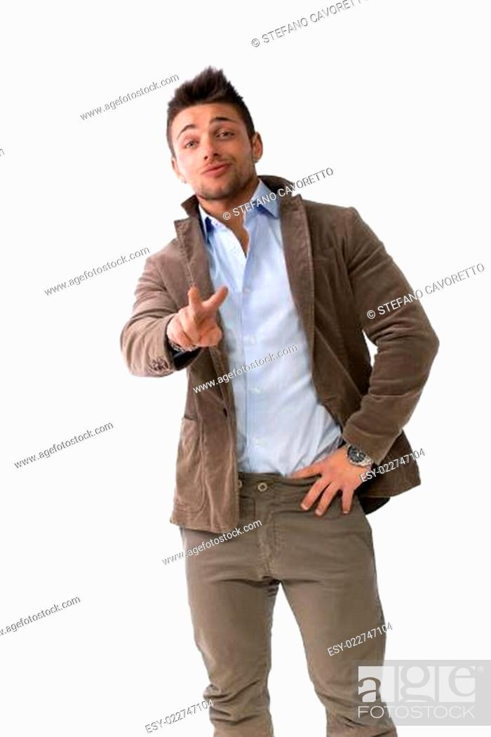 Stock Photo: Handsome young man doing victory sign with hand.