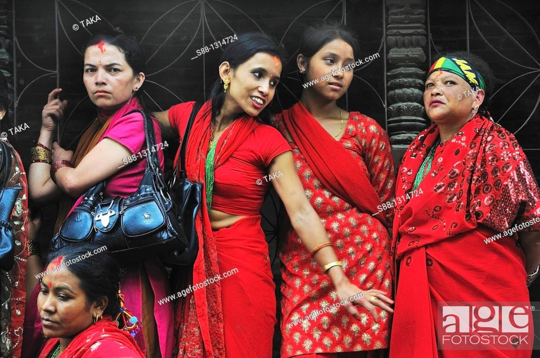 Stock Photo: On the day of Teej festival at Pachali Bhairab Temple.