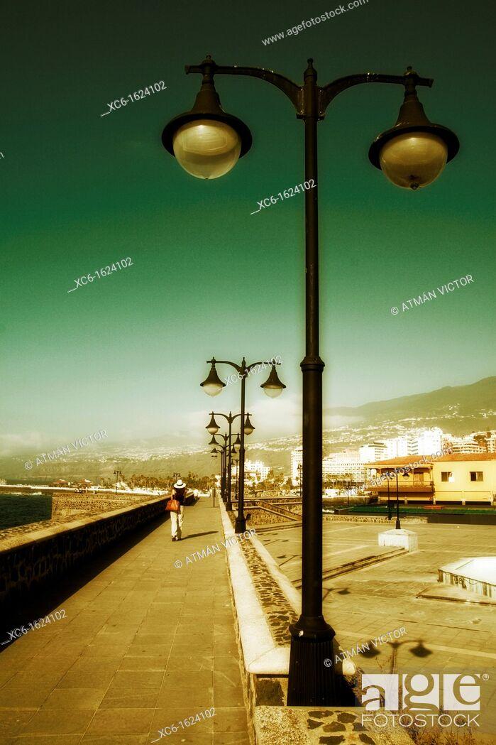 Stock Photo: Promenade, waterfront, Puerto de la Cruz, Tenerife, Canary Islands, Spain.