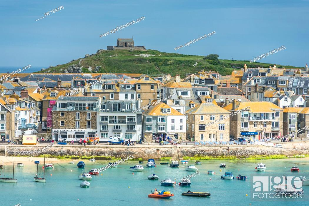 Stock Photo: Elevated views of the popular seaside resort of St. Ives, Cornwall, England, United Kingdom, Europe.