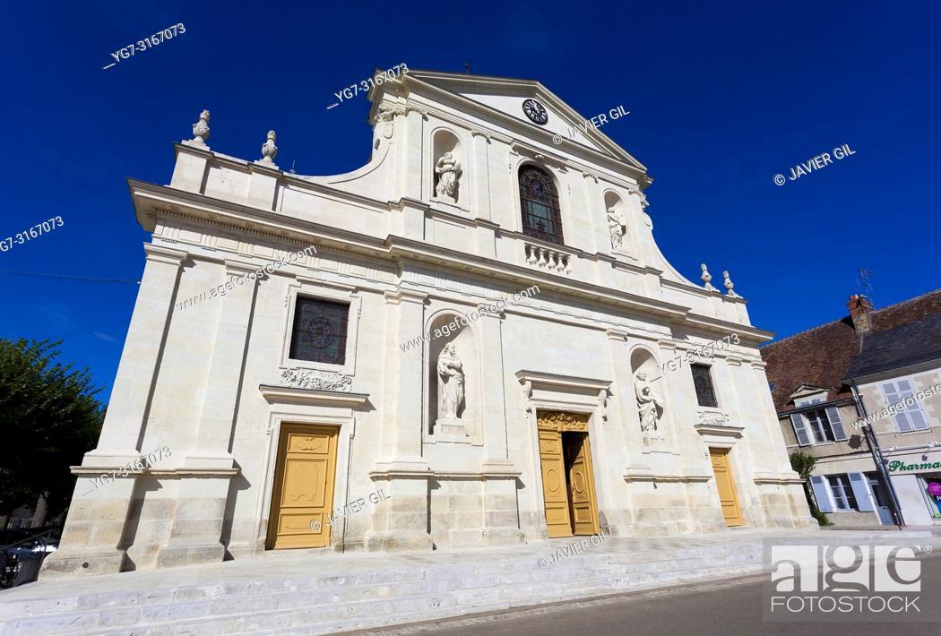 Stock Photo: Church of Richelieu, Indre-et-Loire, Centre-Val de Loire, France.