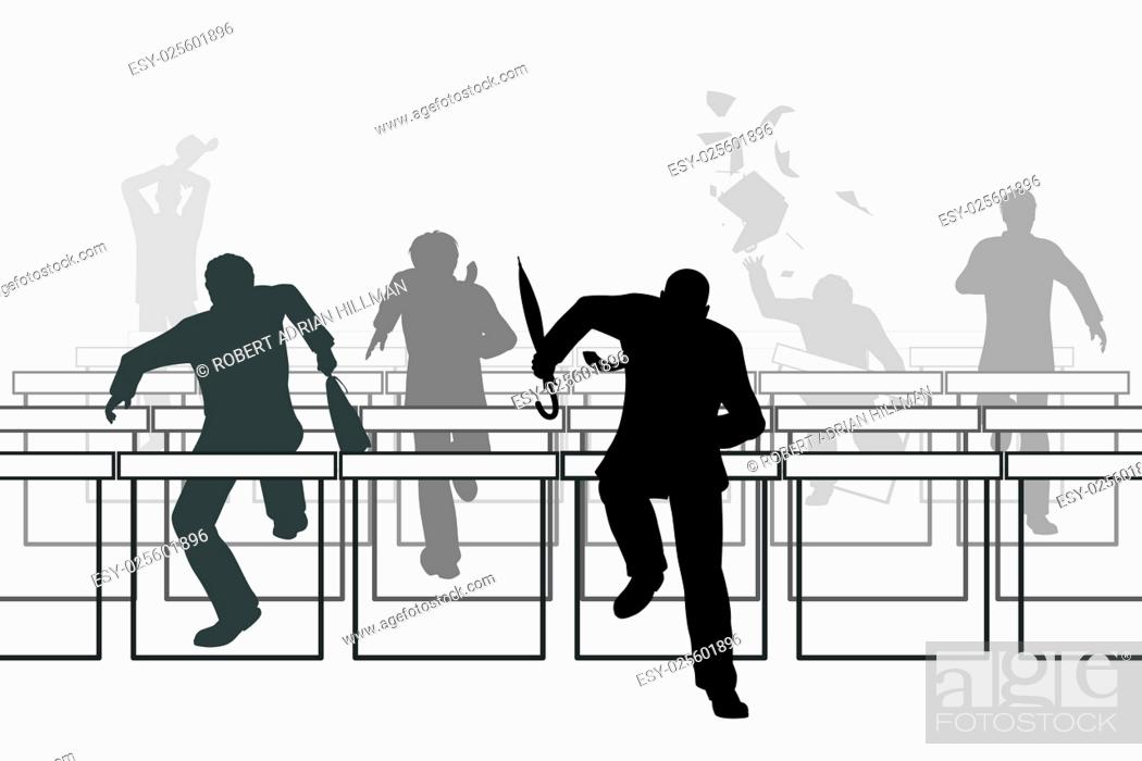 Vector: Editable vector illustration of businessmen racing over hurdle obstacles.