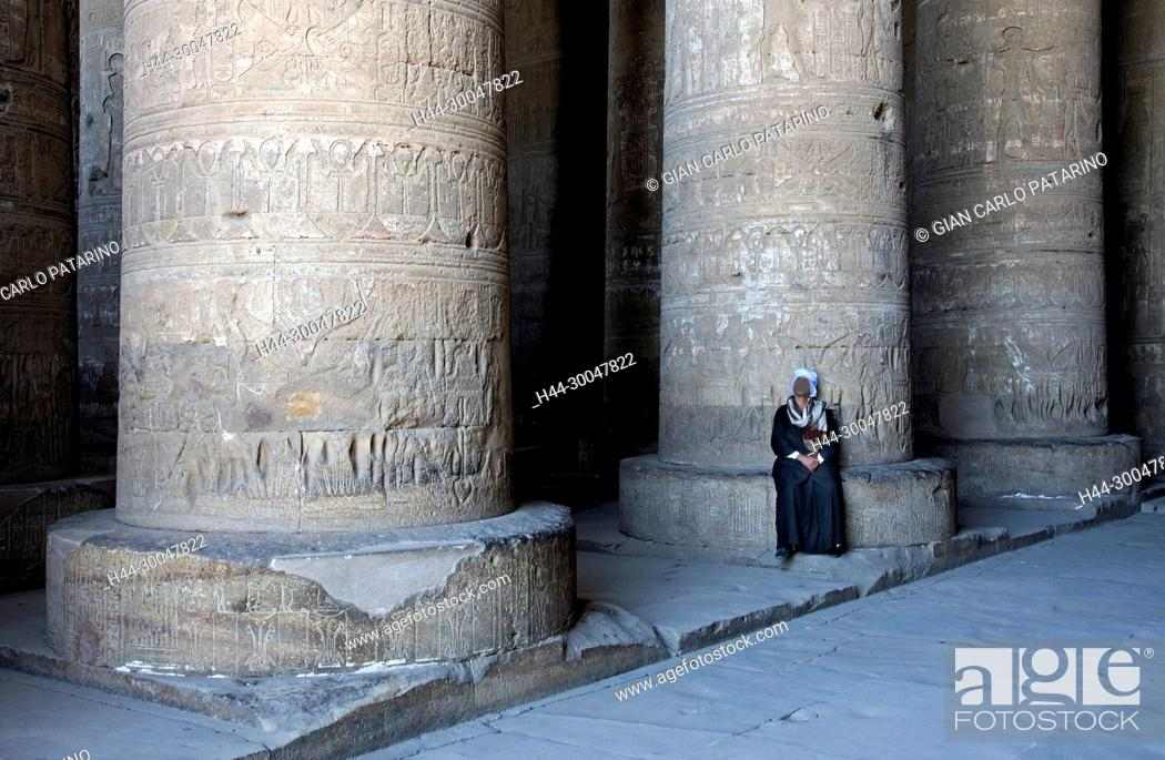 Stock Photo: Dendera Egypt, temple dedicated to the goddess Hathor. View of hypostyle hall.