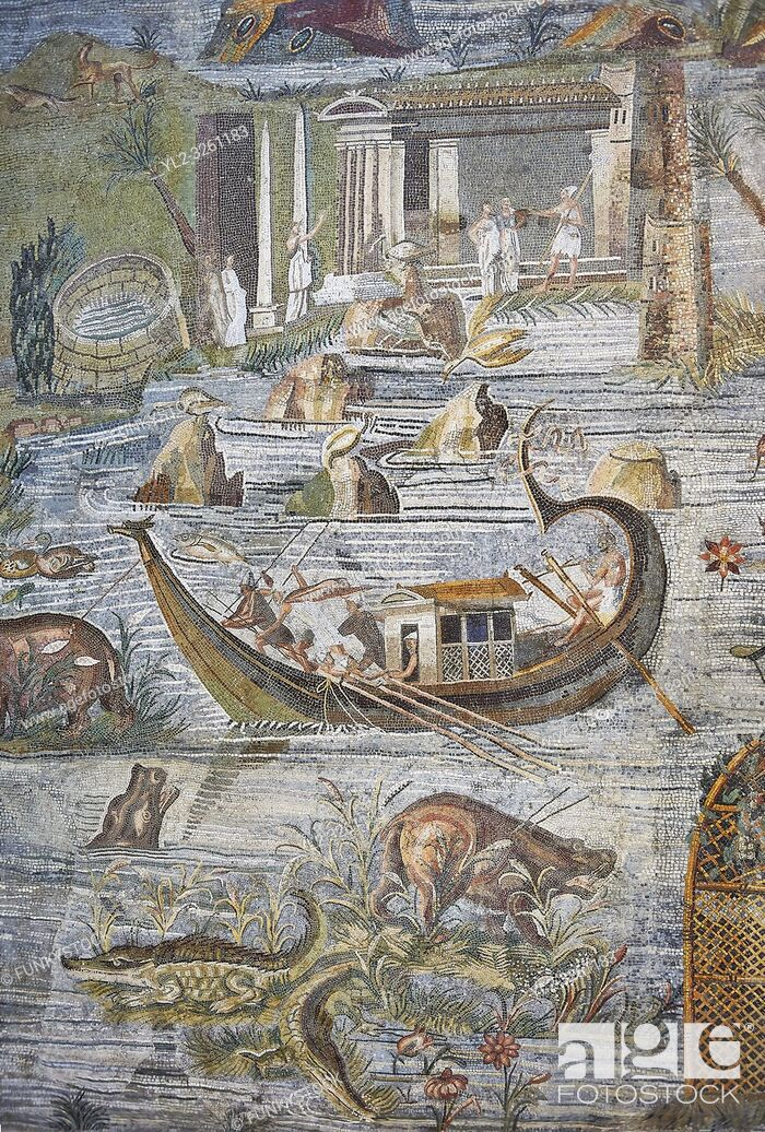 Stock Photo: Detail picture of a boat on the Nile from the famous Hellenistic Roman Palestrina Nilotic landscape Mosaic or Nile mosaic of Palestrina 1st or 2nd century BC.