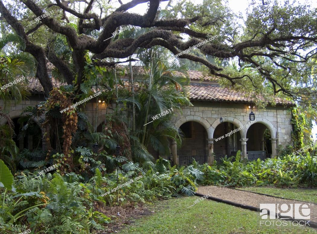 Stock Photo: Cloisters of the Ancient Spanish Monastery in Miami, Florida. The Monastery of St. Bernard de Clairvaux was built in Sacramenia, in the Province of Segovia.