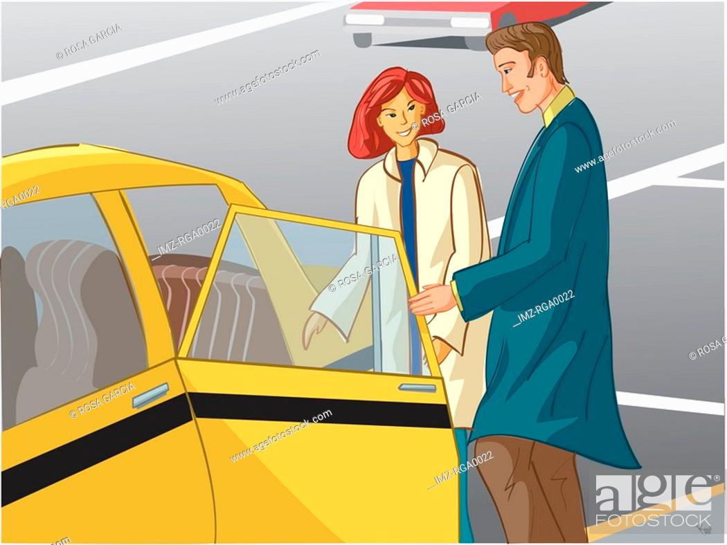 Stock Photo: An illustration of a couple getting into a taxi cab.