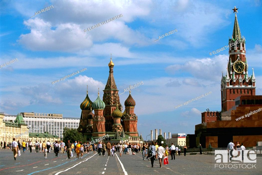 Stock Photo: Russia - Moscow - Red Place - St Basile the Blessed - Lenin's Mausoleum.