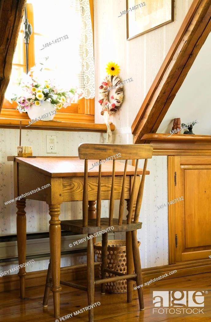Antique School Desk And Chair In An Upstairs Bedroom Of An Old