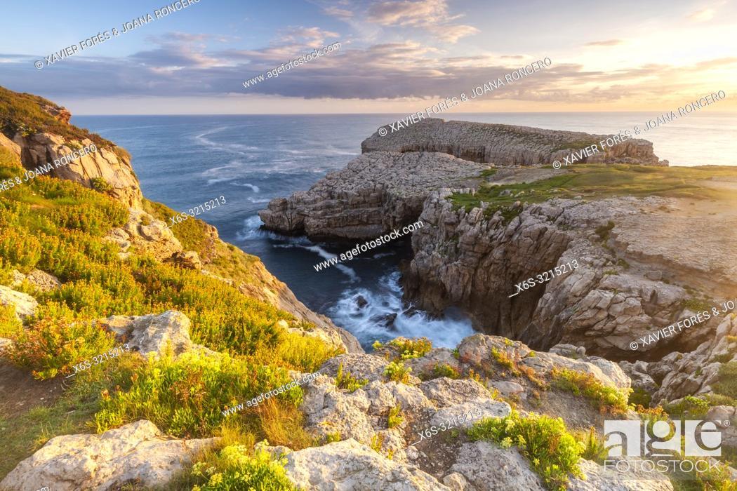 Stock Photo: Dawn at Roca Blanca - White Rock - in Suances, Cantabria, Spain.