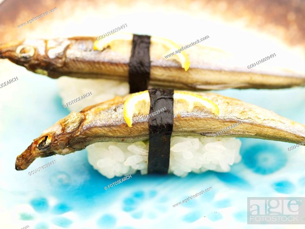 Stock Photo: capelin, plate, shishamo, decoration, food styling, sushi plate.